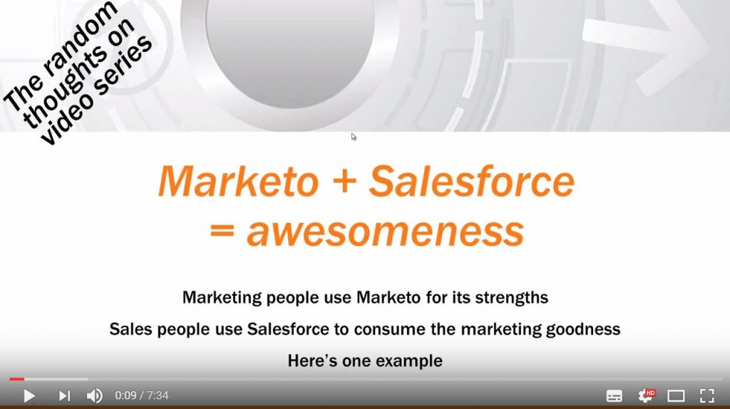 "RMS Youtube video hits 10k view milestone: ""Marketo + Salesforce together = awesomeness"""
