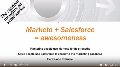 "RMS Youtube video hits 11k view milestone: ""Marketo + Salesforce together = awesomeness"""